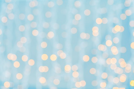 blurred blue and golden background with bokeh lights Banco de Imagens