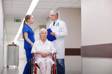 medical professional: medicine, age, health care and people concept - doctor, nurse and senior woman patient in wheelchair at hospital corridor