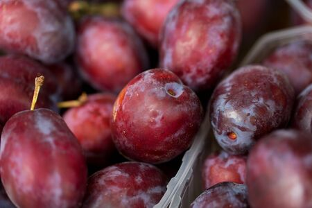 satsuma: sale, harvest, food, fruits and agriculture concept - close up of satsuma plums in box at street market
