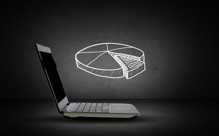 statistic: technology, business and statistics concept - open laptop computer with pie chart doodle over dark gray background