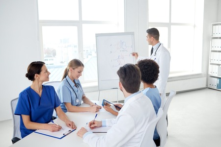 medical education: medical education, health care, medical education, people and medicine concept - group of happy doctors or interns with mentor meeting and drawing on flip board at hospital