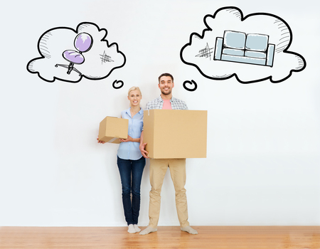 real people: home, people, repair and real estate concept - happy couple holding cardboard boxes and moving to new place with text bubbles and furniture doodles