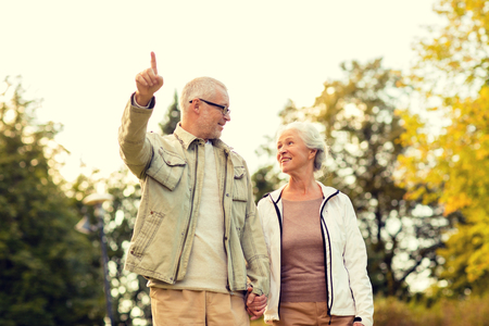 seniors: family, age, tourism, travel and people concept - senior couple in park