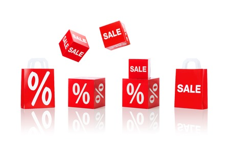 merchandising: shopping, retail and merchandising concept - set of boxes and shopping bags with sale and percent sign