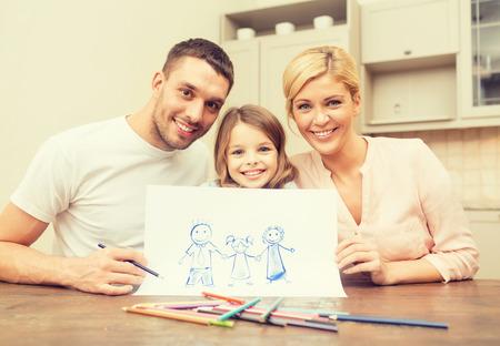 famille, les enfants et les gens heureux notion - dessin famille heureuse à la maison