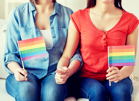 people, homosexuality, same-sex, pride and love concept - close up of happy couple holding rainbow flags at home