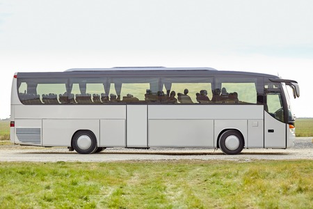 buses: travel, tourism, road trip and passenger transport - tour bus staying outdoors