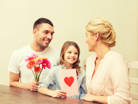 happy mom: holidays, family, hapiness and people concept - happy family celebrating mothers day Stock Photo