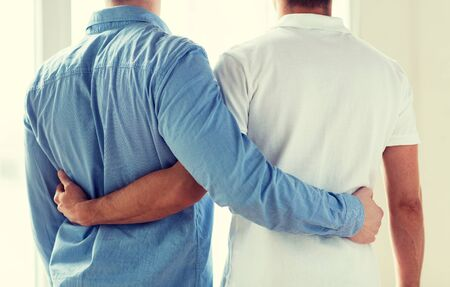 homosexual sex: people, homosexuality, same-sex marriage, gay and love concept - close up of happy male gay couple hugging from back Stock Photo