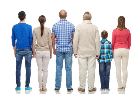 rear view: family, gender, generation and people concept - group of men, women and boy from back Stock Photo