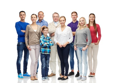 3 generation: family, gender, generation and people concept - group of smiling men, women and boy Stock Photo