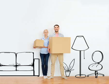 home, people, repair and real estate concept - happy couple holding cardboard boxes and moving to new place over furniture cartoon or sketch background Foto de archivo