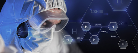 biology backgrounds: science, chemistry, biology, medicine and people concept - close up of scientist face in goggles and protective mask at chemical laboratory over hydrogen chemical formula