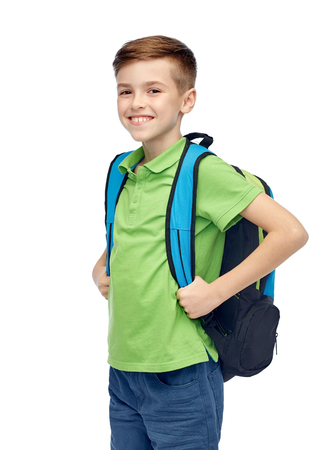 schoolbag: childhood, school, education and people concept - happy smiling student boy with school bag