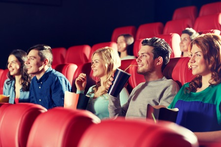 cinema, entertainment and people concept - happy friends watching movie in theater Stock fotó - 51333433