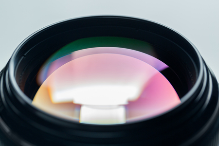 photo shooting: photography, object and art concept - close up of camera lens