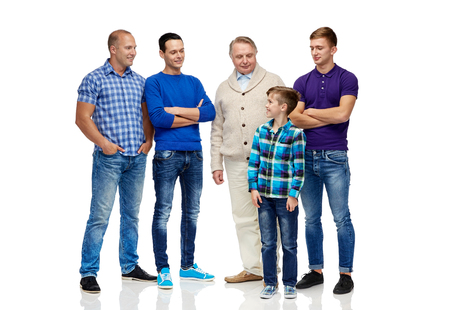 group of men: male, gender, generation and people concept - group of smiling men and boy