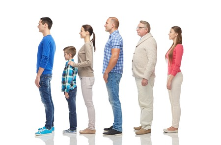 family, gender, high and people concept - group of men and women from side Stock Photo