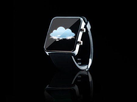 watch over: modern technology, computing, object and media concept - close up of black smart watch with cloud icon on screen over black background