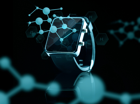 modern technology, science, biology and object concept - close up of black smart watch over hydrogen molecular projections