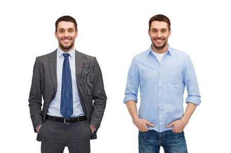 suit tie: business and casual clothing concept - same man in different style clothes