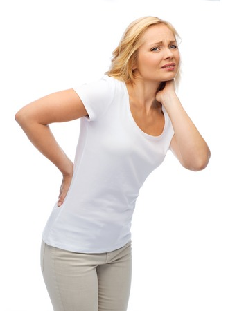 people, healthcare, backache and problem concept - unhappy woman suffering from pain in back or reins