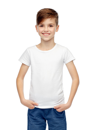 ten empty: childhood, fashion, advertisement and people concept - happy boy in white t-shirt and jeans