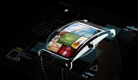 modern technology, mass media, object and media concept - close up of black smart watch with virtual screen projection with news application