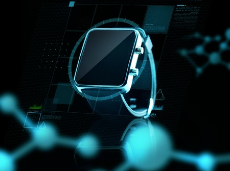 watch over: modern technology, science, biology and object concept - close up of black smart watch over virtual screen and molecular projections Stock Photo