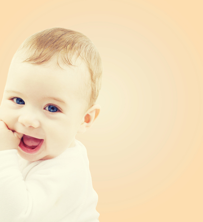 adorable child: child, people and happiness concept - adorable baby boy Stock Photo