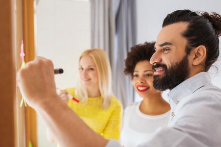 gestion empresarial: negocio, puesta en marcha, la planificación, la gestión y la gente concepto - escritura de feliz equipo creativo internacional sobre el parachoques en el tablero de cristal de la oficina