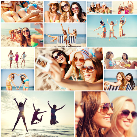 technology collage: summer holidays and vacation concept - collage of many pictures with pretty girls having fun on the beach and taking selfie