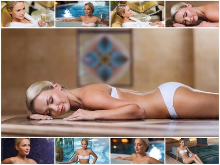 woman lying: beauty, spa, healthy lifestyle concept - beautiful young woman relaxing at luxury spa with hammam sauna and swimming pool Stock Photo
