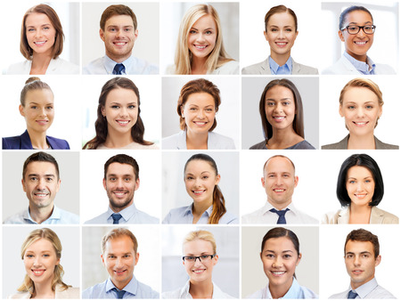 smile face: success concept - collage with many business people portraits Stock Photo