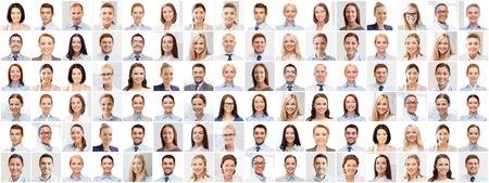 multitud gente: el concepto de éxito - collage con muchos hombres de negocios retratos Foto de archivo