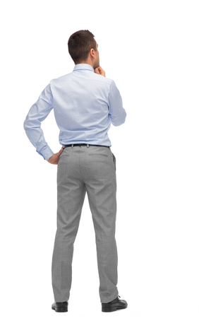 men standing: business, people, dilemma, rear view and office concept - businessman thinking from back