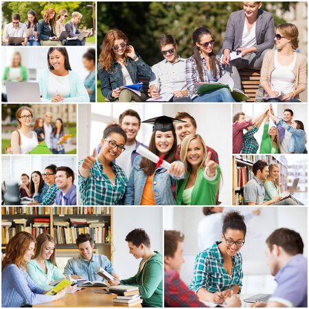 master degree: education concept - collage with many pictures of students in college, university or high school