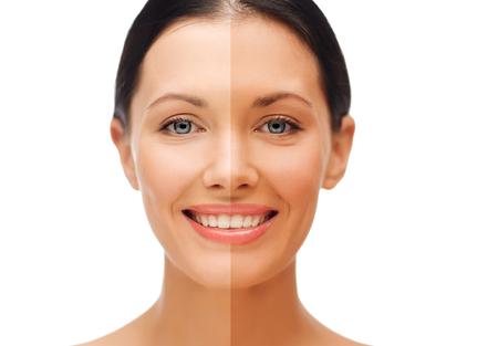 pulverizador: belleza y salud concepto - mujer hermosa con medio rostro bronceado
