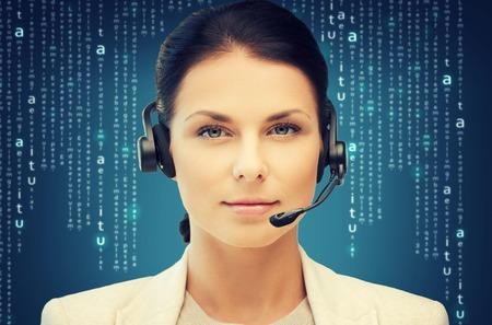 digi: business, office, technology, future concept - friendly female helpline operator Stock Photo