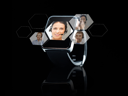 call: modern technology, business, social network, object and communication concept - close up of black smart watch with helpline operator and contacts icons projection