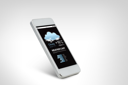 technology, weather forecast, application and electronics concept - white smarthphone with meteo cast on screen