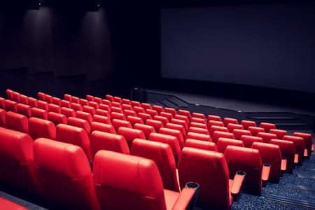엔터테인먼트 및 레저 개념 - 빨간색 석 극장이나 영화관 빈 강당