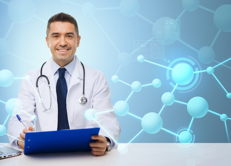 medicine, profession, technology and people concept - happy male doctor with clipboard and stethoscope over blue molecular structure background