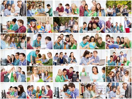 jovenes estudiantes: concepto de la educación - collage con muchas fotos de los estudiantes en la universidad, la universidad o la escuela secundaria