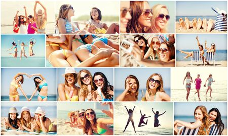 young lady: summer holidays and vacation concept - collage of many pictures with pretty girls having fun on the beach and taking selfie