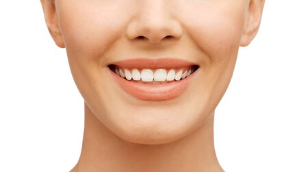 looking after: beauty and dental health concept - beautiful woman with white teeth, before and after