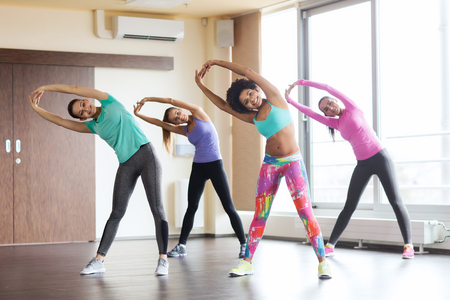women working out: fitness, sport, training, gym and lifestyle concept - group of happy women working out and stretching in gym