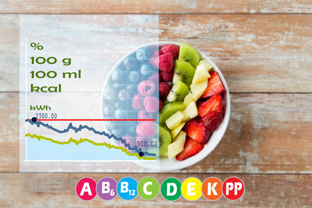 healthy eating, diet, vegetarian food and people concept - close up of fruits and berries in bowl on wooden table over vitamins and calories chart