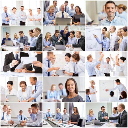 negocios internacionales: el concepto de éxito - collage con muchos hombres de negocios