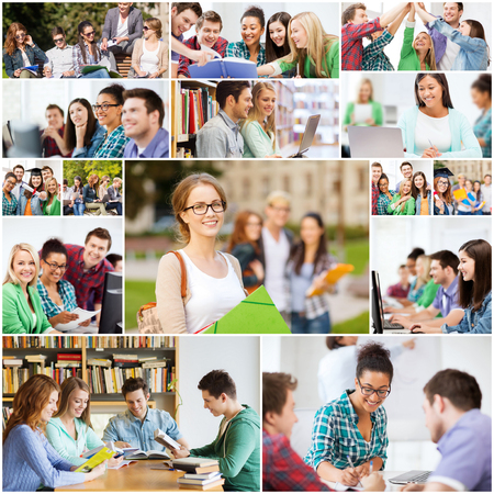 education concept - collage with many pictures of students in college, university or high school Stock fotó
